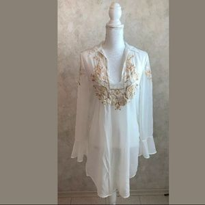 Free People sheer long sleeved tunic blouse. XS